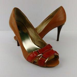 Michael Kors Peep Toe Leather Heels Cognac & Red